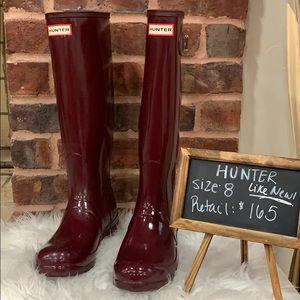 Worn ONCE Hunter Tall Gloss Rain Boots Size 8
